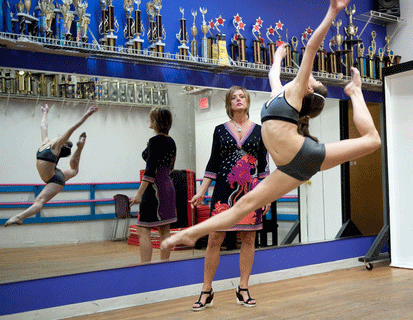 Dancer Brooke Hyland shows off her advanced leap as she prepares for upcoming competitions.